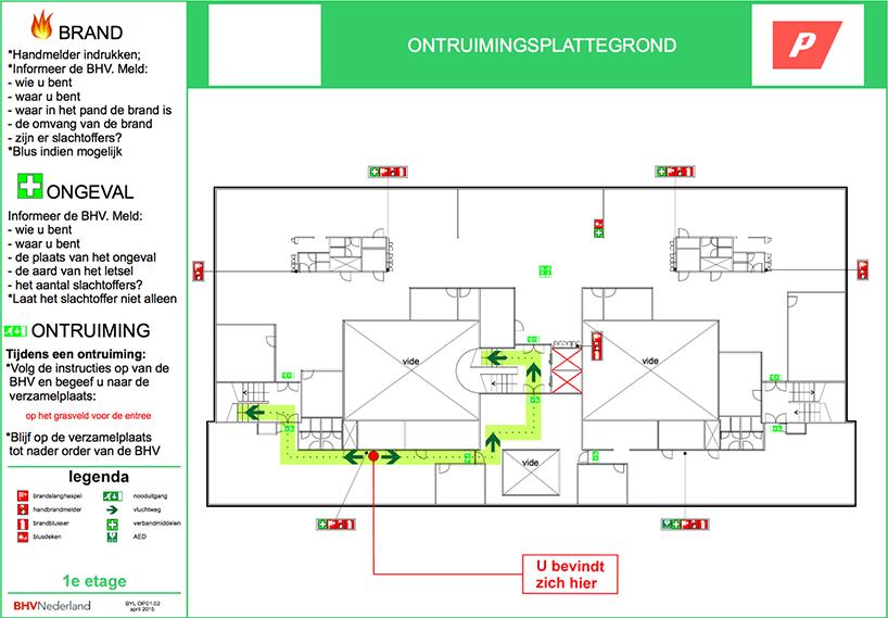 voorbeeld ontruimingsplattegrond
